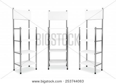 Promotion Shelving Mockup. Isolated Vector Retail Product Stand Wiwh Shelf.