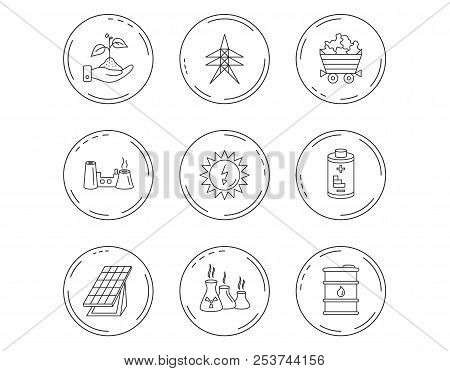 Solar Collector Energy, Battery And Oil Barrel Icons. Minerals, Electricity Station And Factory Line