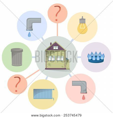 Paying Utilities Bills, Hidden Charges, Unclear And Unobvious Expenditure, Flat Diagram With House A