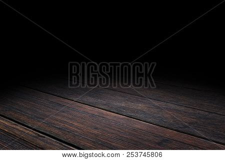 Dark Plank Old Wood Floor Texture Perspective Background For Display Or Montage Of Product,mock Up T
