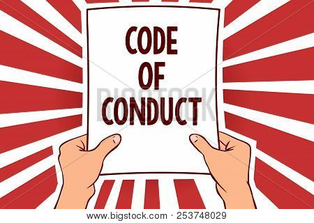 Handwriting Text Writing Code Of Conduct. Concept Meaning Ethics Rules Moral Codes Ethical Principle