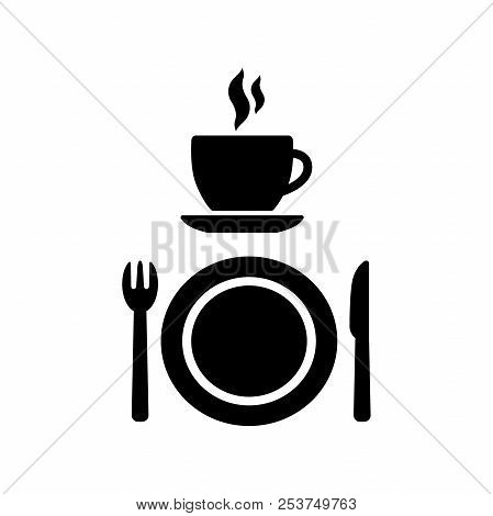 Cafeteria, Cafe And Diner Vector Signs. Coffee Cup With Smoke, A Fork, A Knife And A Plate Icon Symb