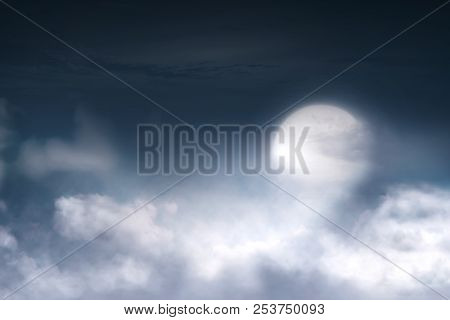 Full Moon With Cloudscape On The Sky. Halloween Background
