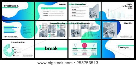 Clean Design Of A Business Presentation Template. Vector Set Of Infographic Elements For Marketing,