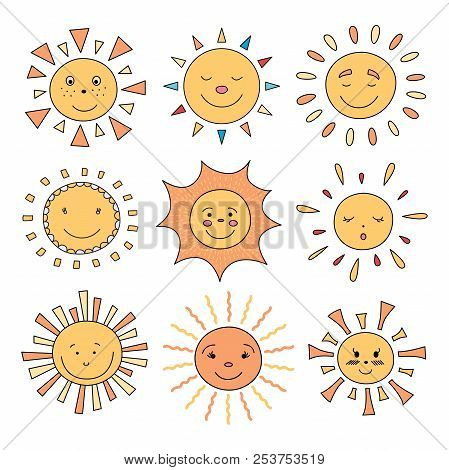 Vector Illustration Of Cute Cartoon Sun Characters. Set Of Sky Objects.
