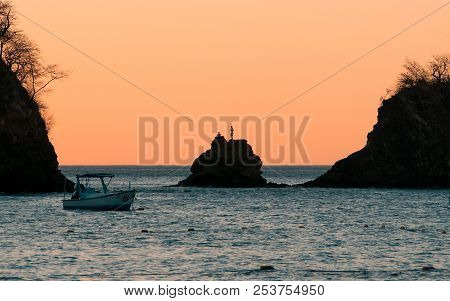Silhouettes At The Beach During A Beautiful Sunset On A Cloudy Evening Boats And Sea, Boat On Sunset
