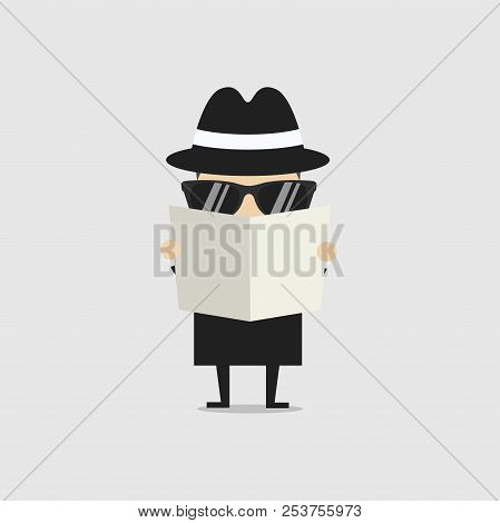 Detective Spying Through Newspaper Cartoon. Vector Illustration