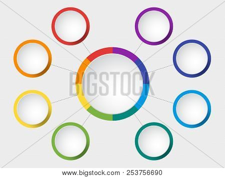 Business Vector Slide Template With Circle Diagram. Infographic Colorful Round Chart. Circle Frame B