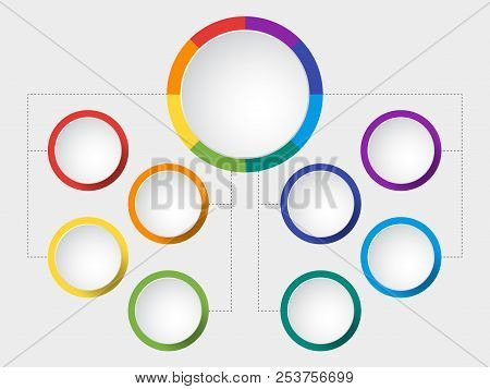 Business Vector Slide Template With Circle Diagram. Infographic Round Chart In Rainbow Spectrum Colo