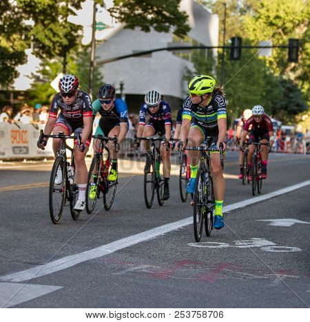 Boise, Idaho - July 14, 2018: Leader Of The Pack Looking Back To See Where The Other Riders Are Duri