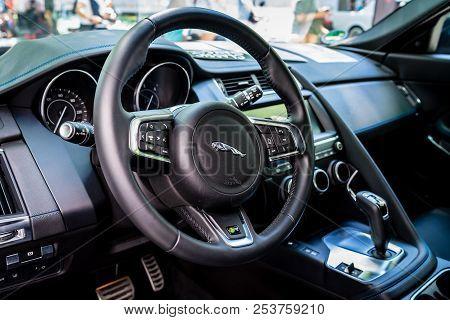 Berlin - June 09, 2018: Interior Of A Compact Luxury Crossover Suv Jaguar F-pace R, 2018. Classic Da