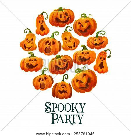 Halloween Horror Pumpkin Invitation Card For October Holiday Night Party. Halloween Orange Pumpkin O