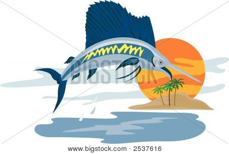 Vector art of a Sailfish jumping in the sunset poster