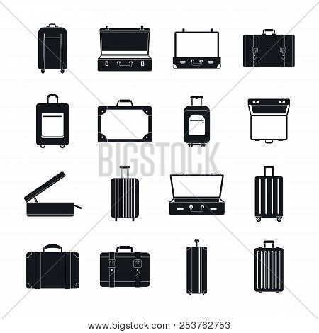 Suitcase Travel Luggage Bag Briefcase Icons Set. Simple Illustration Of 16 Suitcase Travel Luggage B