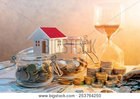 Saving Money For Retirement Concept. Real Estate Or Property Investment. Home Mortgage Loan Rate. Co