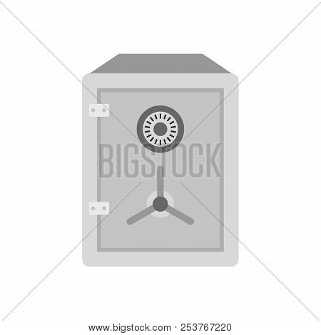 Metal And Concrete Safe Icon In Flat Style Isolated On White Background. Security Symbol Illustratio