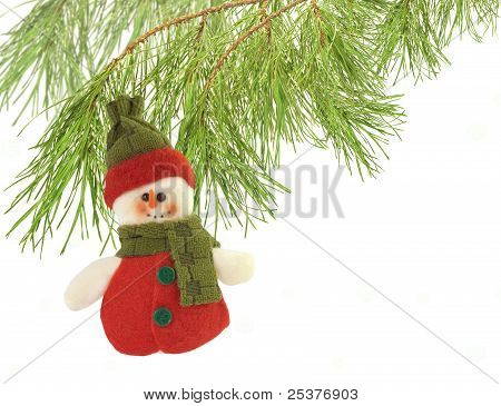 Cute Snowman Under A Pine Tree Isolated On White