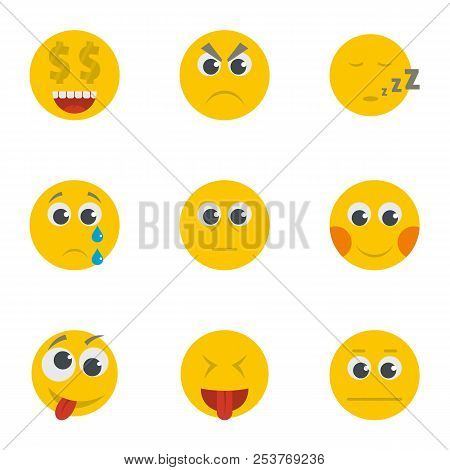 Grin Icons Set. Cartoon Set Of 9 Grin Icons For Web Isolated On White Background
