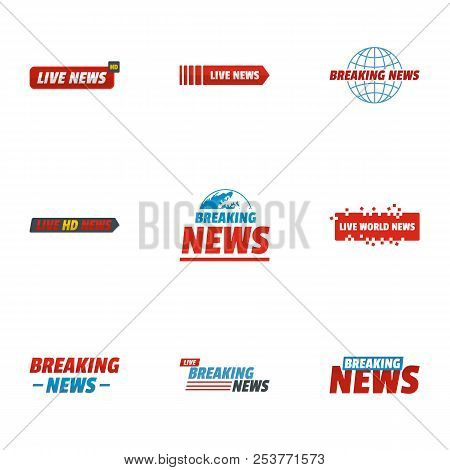 News Story Icons Set. Flat Set Of 9 News Story Icons For Web Isolated On White Background