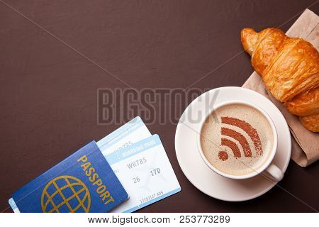Mug Of Coffee With Wifi Sign On The Foam. Free Access Point To The Internet Wifi. I Like Coffee Brea