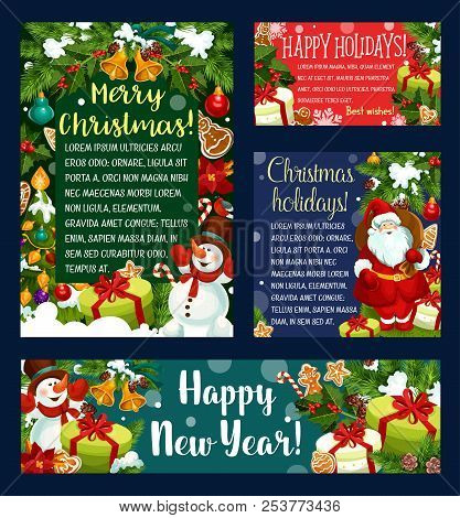 christmas and new year holidays greeting card and banner template santa with xmas tree
