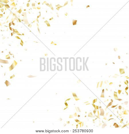 Gold Glitter Confetti Flying On White Holiday Vector Design. Vip Flying Sparkle Elements, Gold Foil