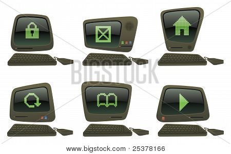 Retro Computer Icons Set Three