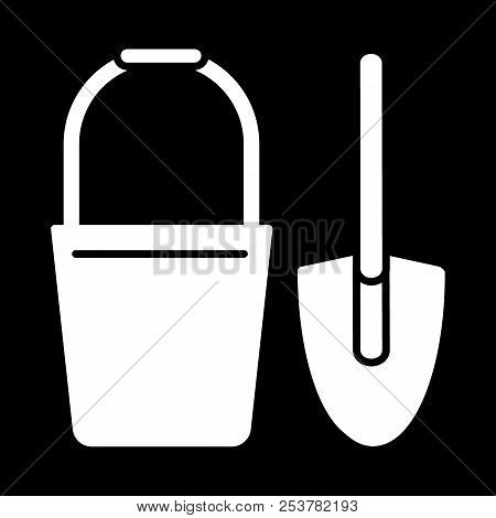 Bucket And Spade Solid Icon. Vector Illustration Isolated On Black. Glyph Style Design, Designed For