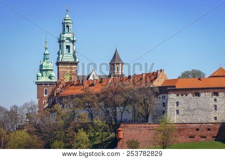 Towers of Royal Archcathedral Basilica of Saints Stanislaus and Wenceslaus on the Wawel Hill in Cracow city, Poland poster