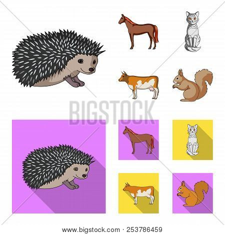 Horse, Cow, Cat, Squirrel And Other Kinds Of Animals.animals Set Collection Icons In Cartoon, Flat S