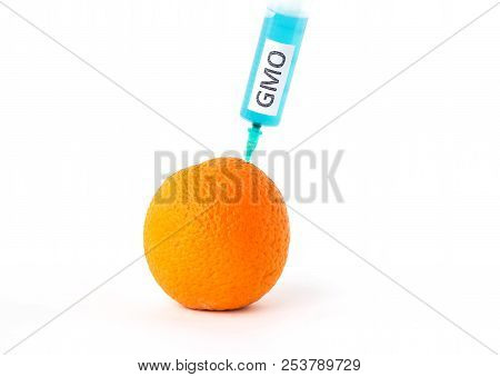Orange on a white background in which enter gmo and nitrates, close-up, genetically modified organism, orange poster