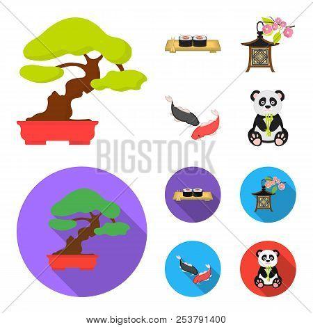 Sushi, Koi Fish, Japanese Lantern, Panda.japan Set Collection Icons In Cartoon, Flat Style Vector Sy