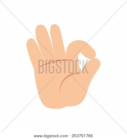 Ok Nonverbal Gesture Sign Vector Illustration Of Human Palm Showing That Everything Is Okay Isolated
