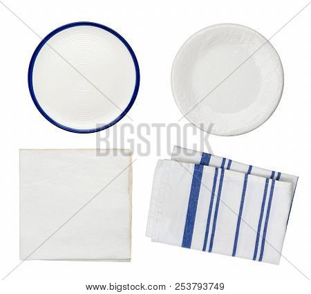 Collage Of Plates And Folded Kitchen Towels Isolated On White