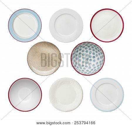 Collection Of Plates With Different Ornaments Isolated On White Background