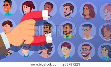 Customer Retention Vector. Businessman Hand With Giant Magnet. Relationship, Marketing Segmentation.