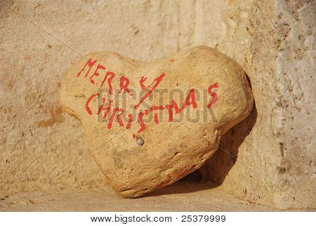 Merry Christmas on a stone's heart