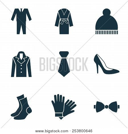 Garment icons set with suit, woman shoe, necktie and other half-hose elements. Isolated  illustration garment icons. poster
