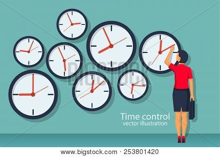 Time Control Concept. Organization Of Process. Vector Illustration Flat Design. Isolated On Backgrou