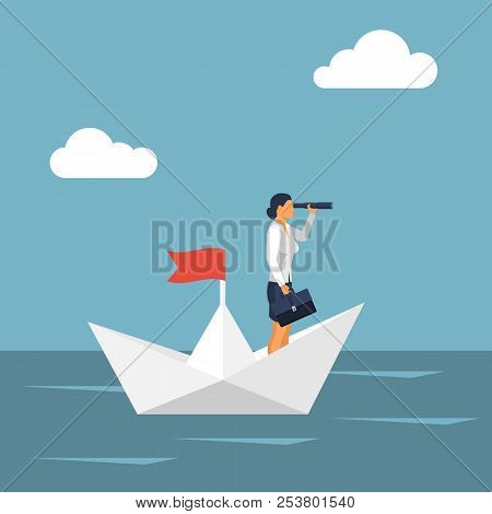Vision Business Concept. Successful Businesswoman Standing On Paper Ship Looking In Telescope, Seein