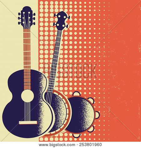 Retro Music Poster Background With Musical Instruments On Old Paper