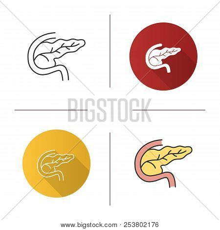 Pancreas And Duodenum Icon. Digestive And Endocrine Gland. Flat Design, Linear And Color Styles. Iso
