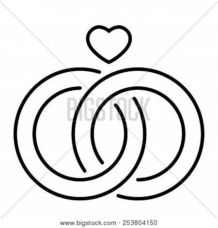Wedding rings thin line icon. Engagement rings vector illustration isolated on white. Jewelery outline style design, designed for web and app. Eps 10. poster