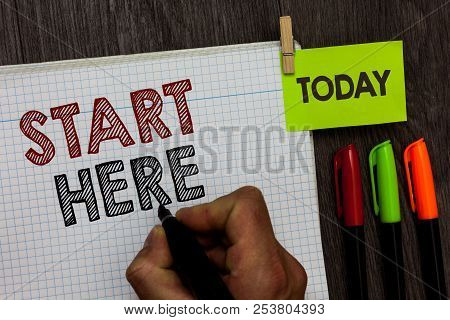 Conceptual Hand Writing Showing Start Here. Business Photo Text Telling Someone This Is Beginning Po