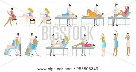 Epilation And Depilation Vector Illustration Collection. Woman In Beauty Saloon Sitting, Lying, Or S