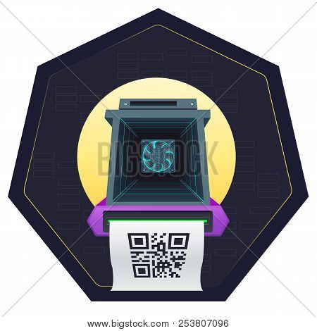 Asic Mining Farm . Asic Mining Vector Illustration.mining Crypto Currency.