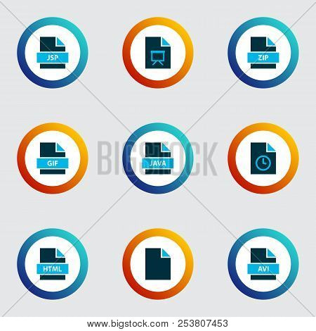 File Icons Colored Set With Temporary File, File Java, Document And Other Format Elements. Isolated