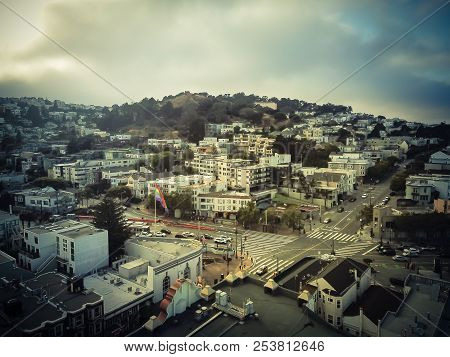Vintage Aerial Castro District With Flying Lgbt Pride Rainbow Flag