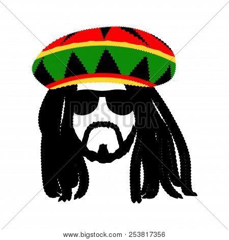 Jamaican Rasta Hat With Dreadlocks And Beard. Reggae Style Avatar. Isolated On White Background. Vec