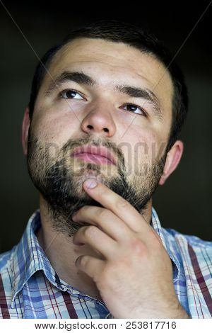Portrait Of Handsome Bearded Confident Intelligent Modern Photogenic Young Man With Short Haircut An